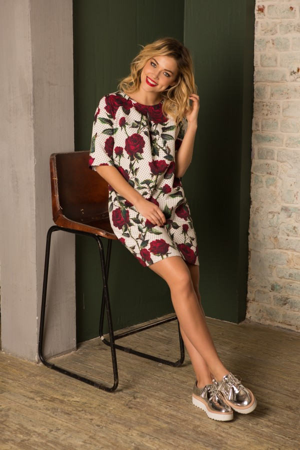 Платье Burgundy Roses Zippers Dress